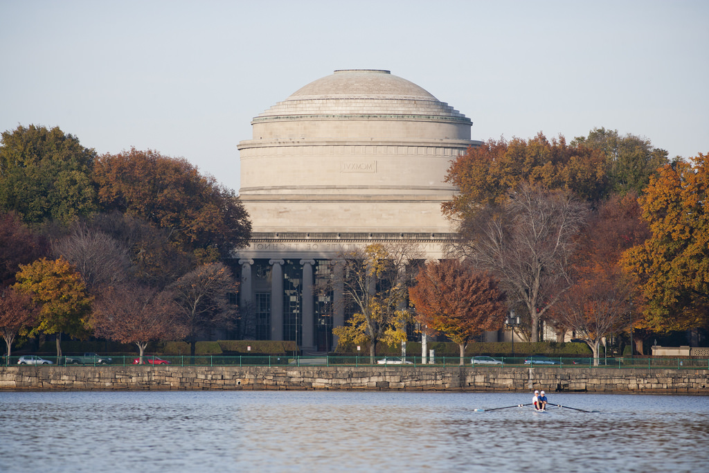 A photo of the MIT dome and the Charles River.